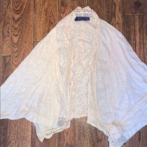 Cream lace detailed cardigan